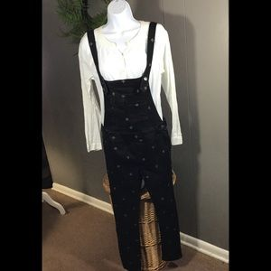 Free People black overalls gold stitched diamonds